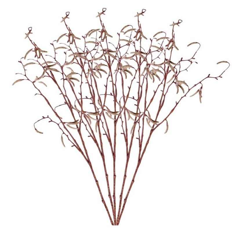 5x Bruine Betula pendula/berkenkatjes kunsttakken 66 cm