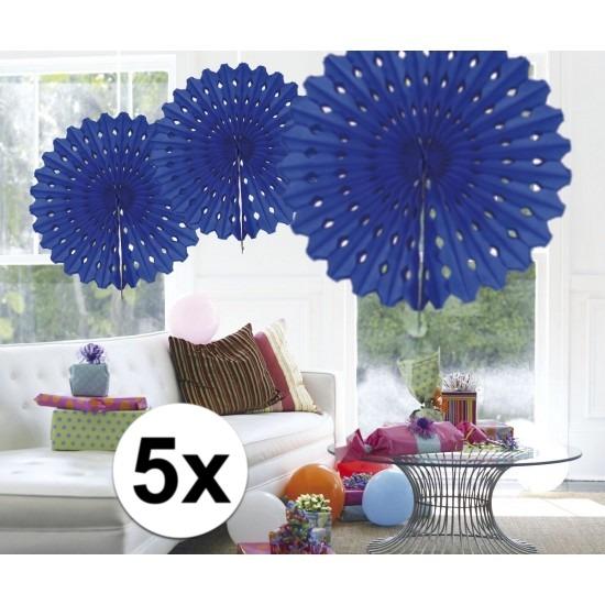 5x Decoratie waaier blauw 45 cm