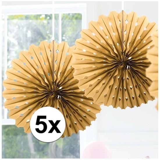 5x Decoratie waaier goud 45 cm