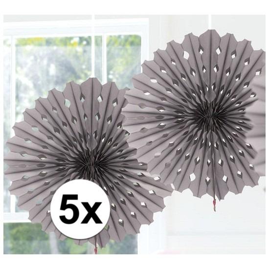 5x Decoratie waaier zilver 45 cm