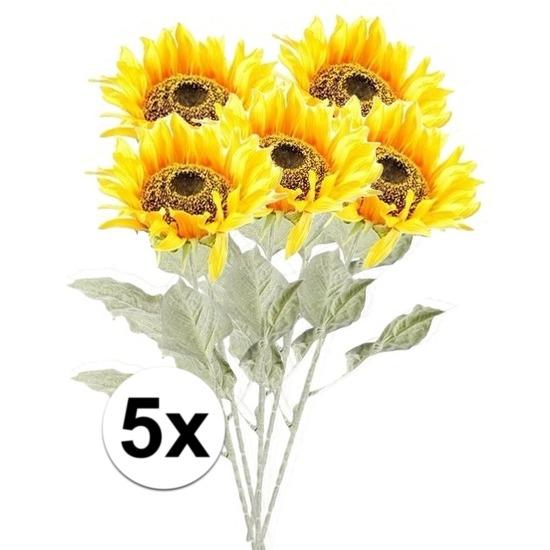 5x Gele zonnebloem kunstbloemen 82 cm