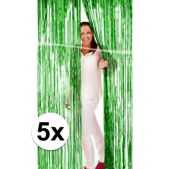 5x Groene versiering folie deurgordijn