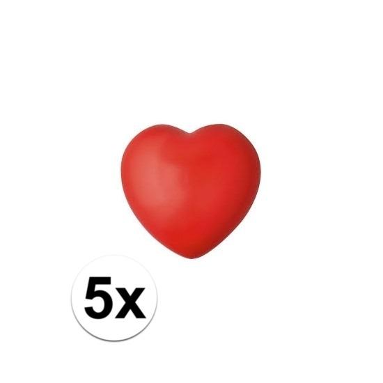 5x hartje stressbal rood 7 cm