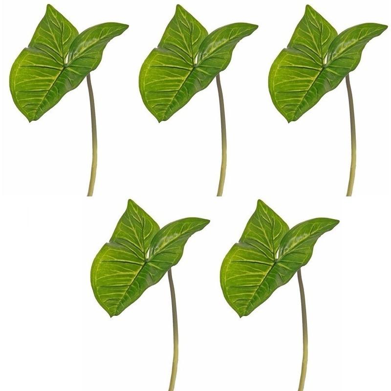 5x Kunst Aronskelkblad bladgroen takken 53 cm