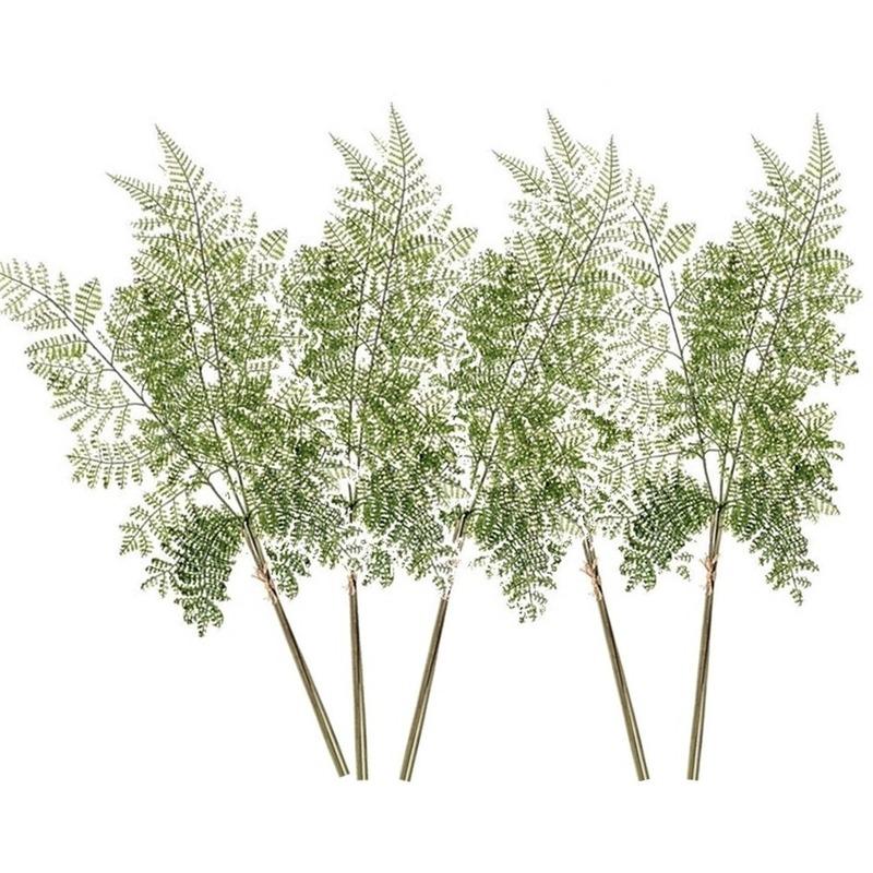 5x Kunstplanten bosvaren takken 58 cm groen