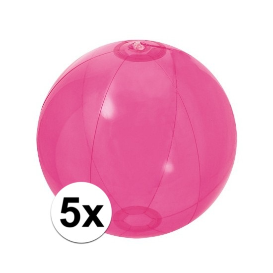 5x Opblaasbare strandbal fel roze 30 cm
