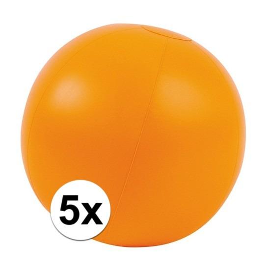 5x Opblaasbare strandbal oranje 30 cm