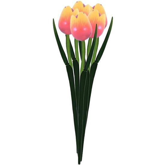 5x Oranje houten tulpen 35 cm kunstbloemen