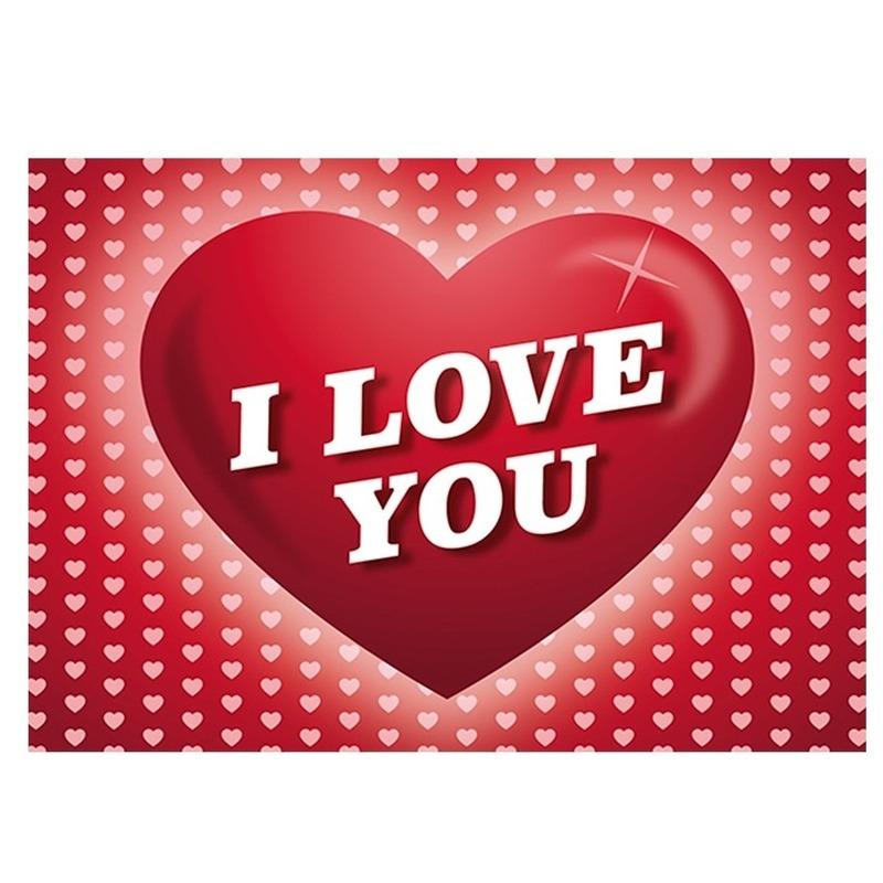 5x Romantische Valentijnskaart I Love You ansichtkaart