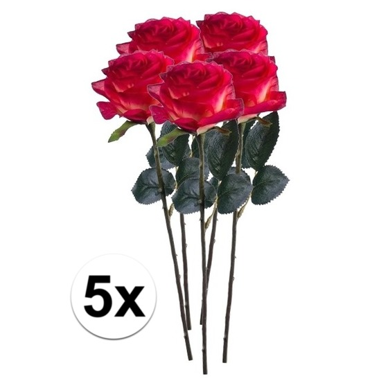 5x Rood/gele rozen Simone kunstbloemen 45 cm