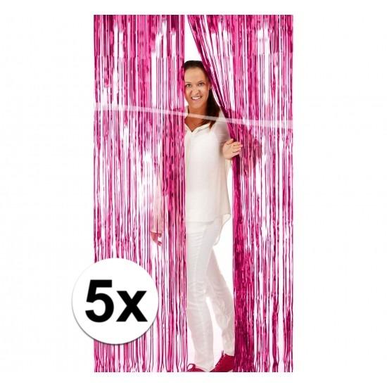 5x Roze versiering deurgordijn van folie