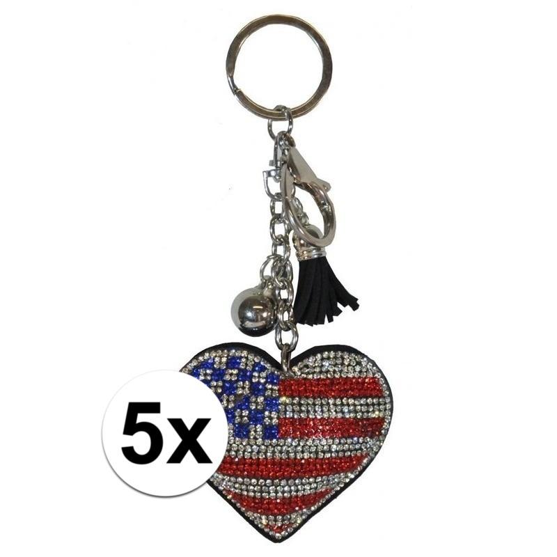5x Sleutelhangers Amerikaanse/USA vlag 15 cm