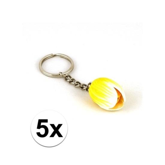 5x Sleutelhangers met gele tulp