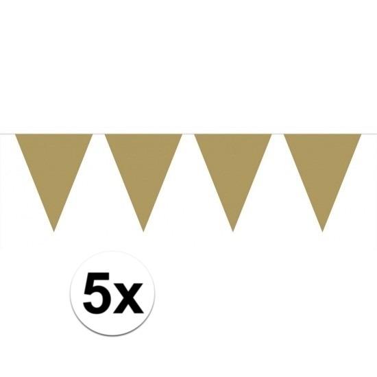 5x stuks vlaggenlijnen XL goud 6 meter