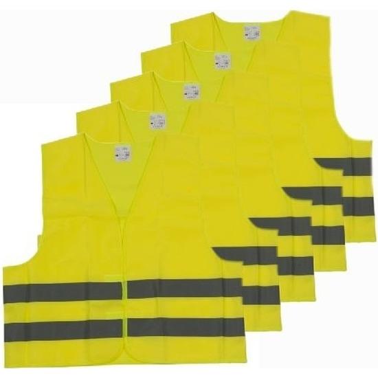 5x Veiligheidsvesten/hesjes geel voor volwassenen