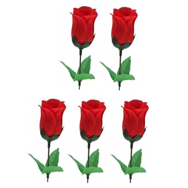 5x Voordelige rode roos kunstbloemen 28 cm
