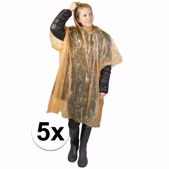 5x wegwerp regenponcho oranje