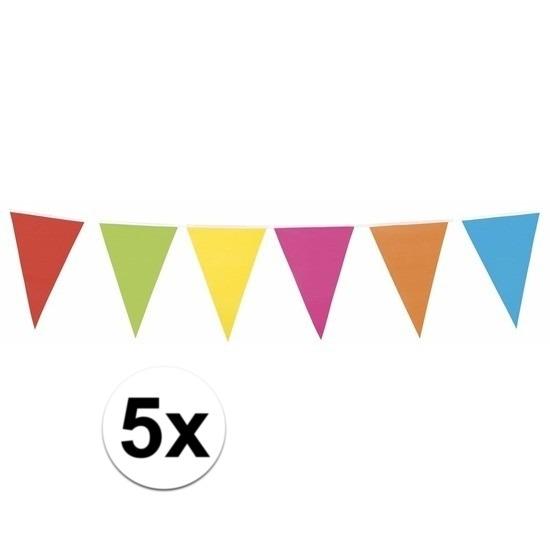 5x XL vlaggenlijn gekleurd 10 meter