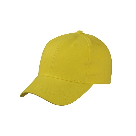 6 panel baseball cap geel