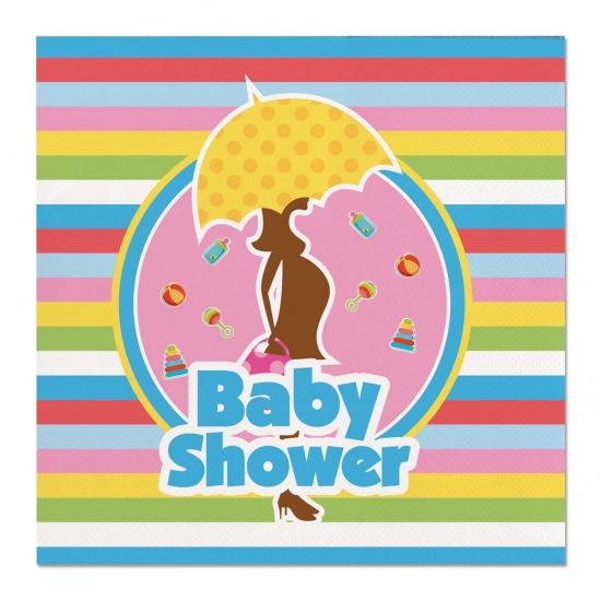 60x Babyshower feest servetten gekleurd 25 x 25 cm papier