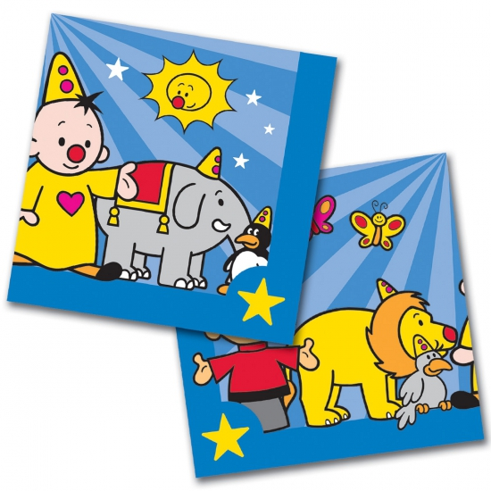 60x Bumba themafeest servetten blauw 33 x 33 cm papier