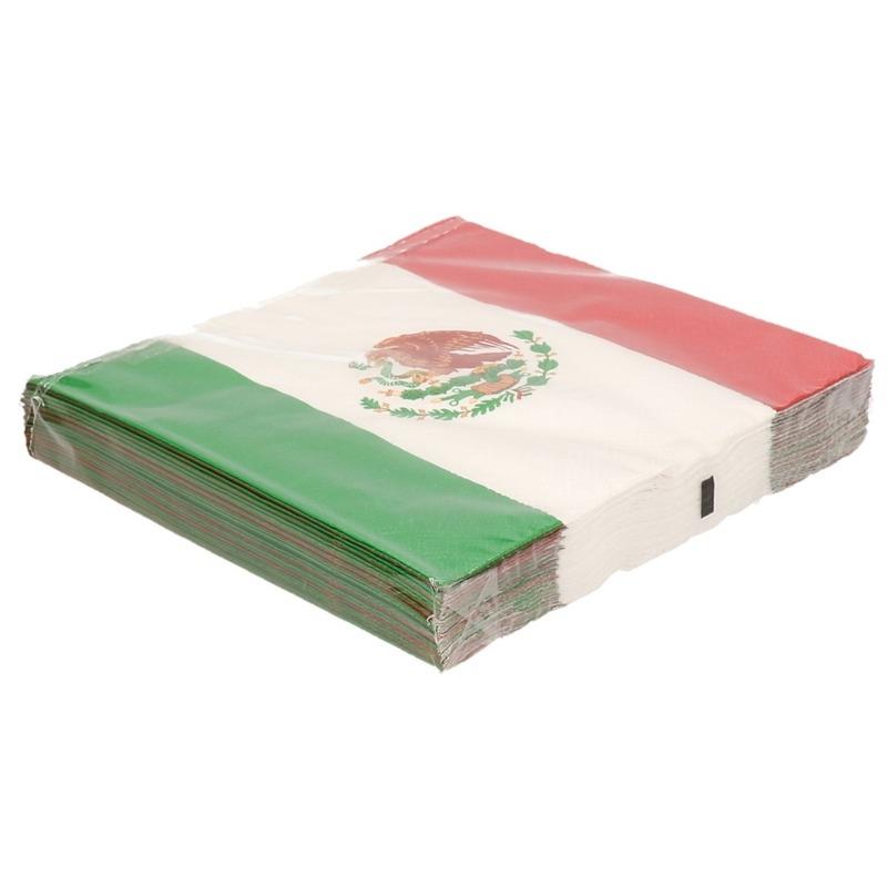 60x Landen thema versiering Mexico vlag servetten 33 x 33 cm