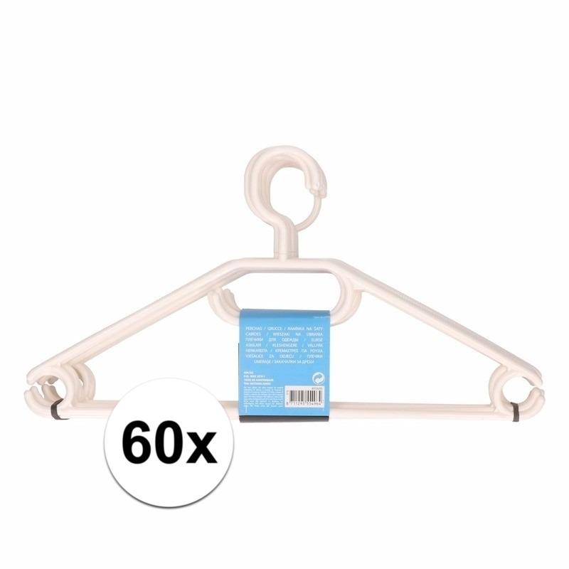 60x plastic kledinghangers wit