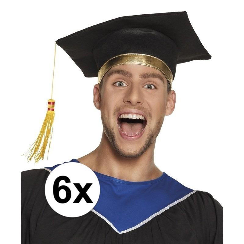 6x Afstudeerhoedje - geslaagd hoedje voor volwassenen