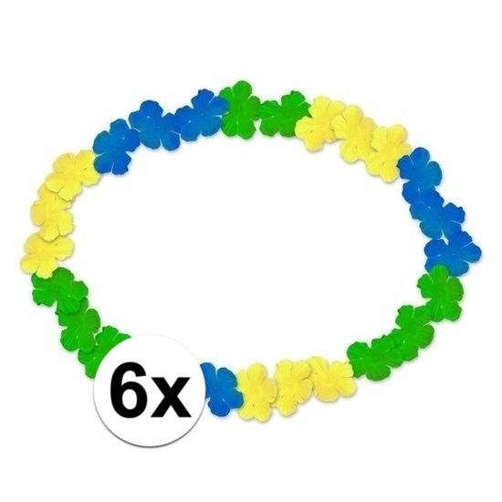 6x Braziliaanse Hawaii kransen blauw-geel-groen