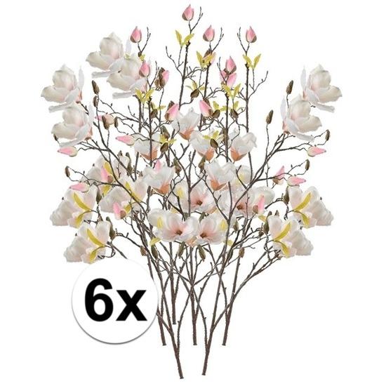 6x Creme Magnolia kunstbloemen tak 105 cm