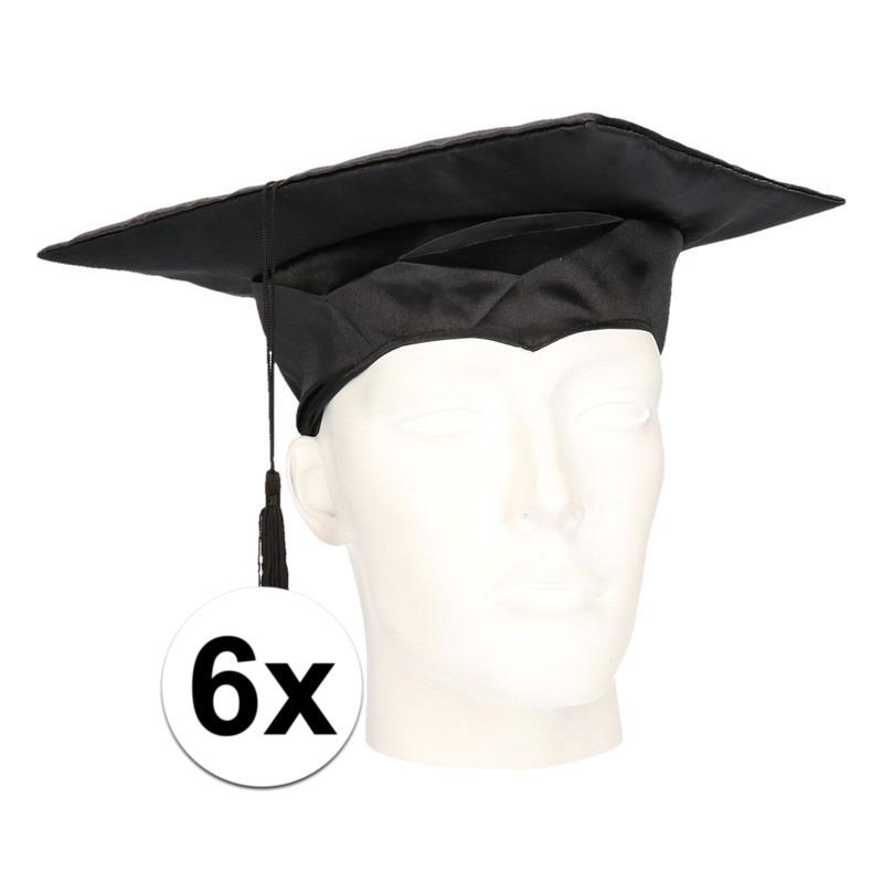 6x geslaagd hoedje - afstudeer baret voor volwassenen