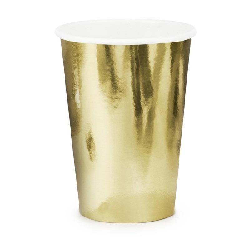 6x Gouden feest bekertjes van karton 220 ml
