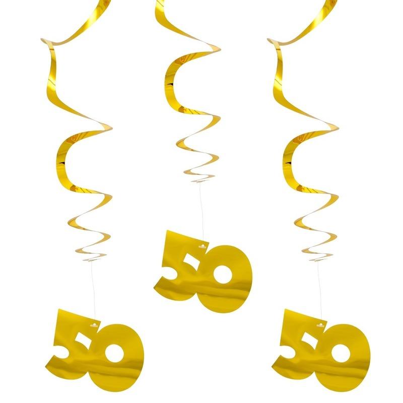 6x Hangdecoratie goud 50 jaar