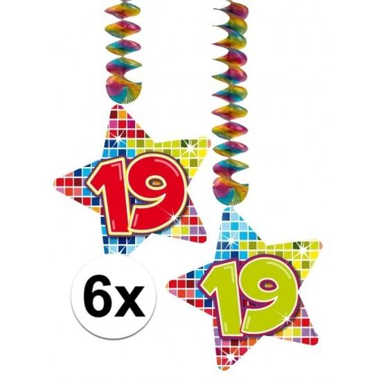 6x Hangdecoratie sterren 19 jaar