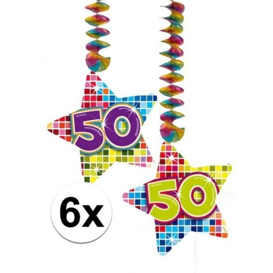 6x Hangdecoratie sterren 50 jaar