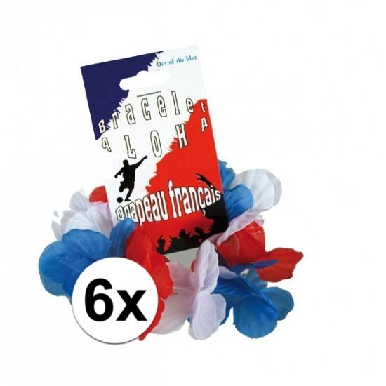 6x Hawaii armbandjes rood/wit/blauw