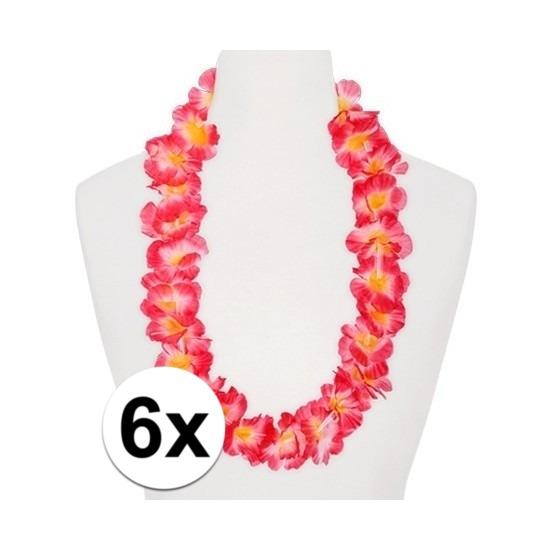 6x Hawaii kransen roze/oranje