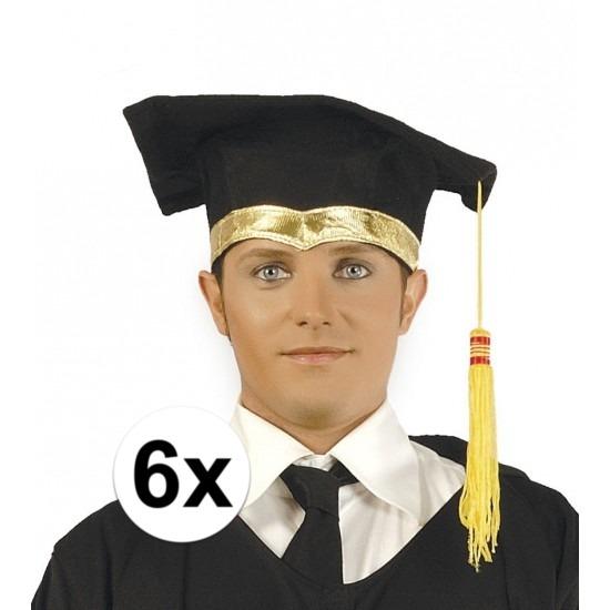 6x Luxe afstudeerhoedje - geslaagd hoedje met gouden details