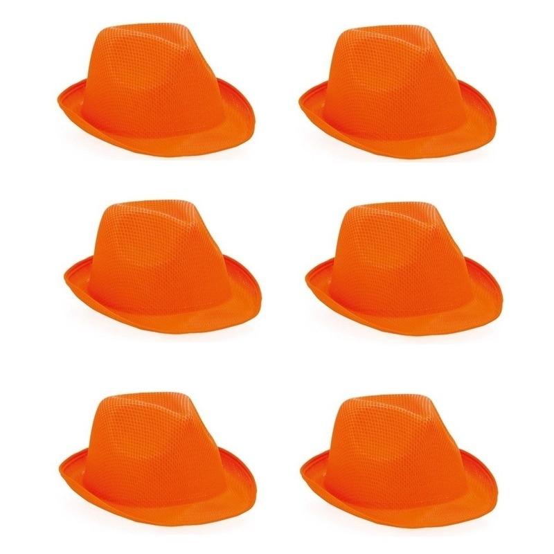 6x Oranje trilby hoedjes voor volwassenen