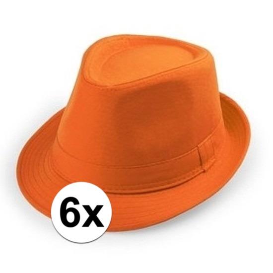 6x Oranje trilby verkleed hoedjes voor volwassenen