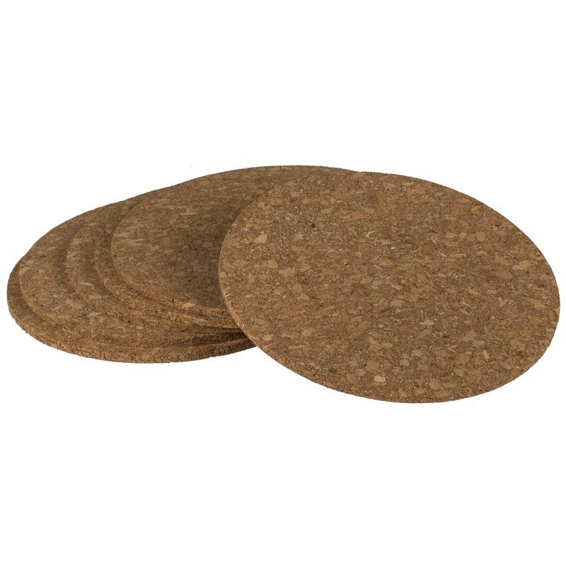 6x Ronde onderzetters van kurk 9 cm