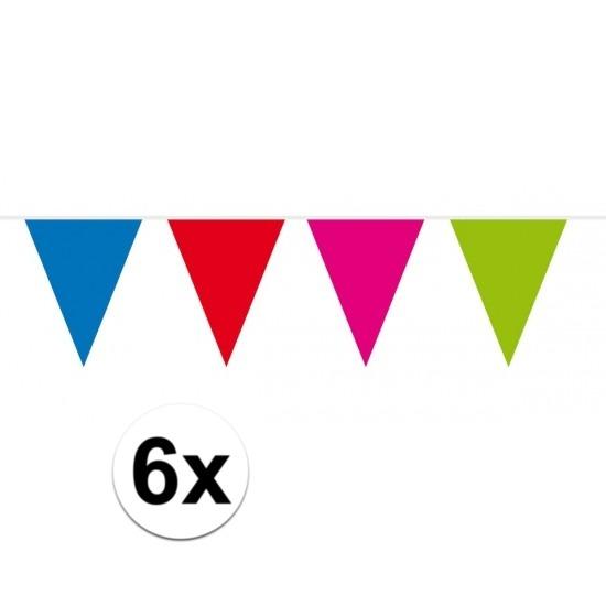 6x vlaggenlijn - slinger XXL meerkleurig 10 meter