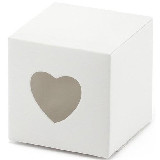 8x verpakking met 10 witte cadeaudoosjes met een hartjes uitsnede. u kunt een klein presentje en/of snoepgoed ...