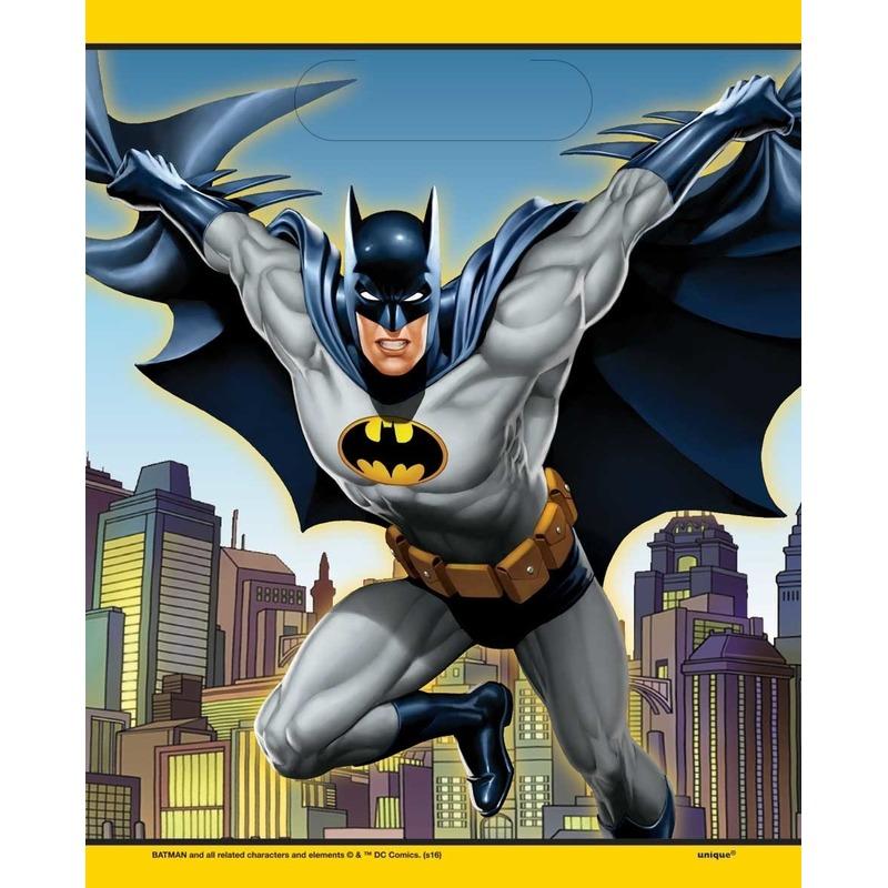 8x Batman themafeest feestzakjes/uitdeelzakjes 23 x 17 cm