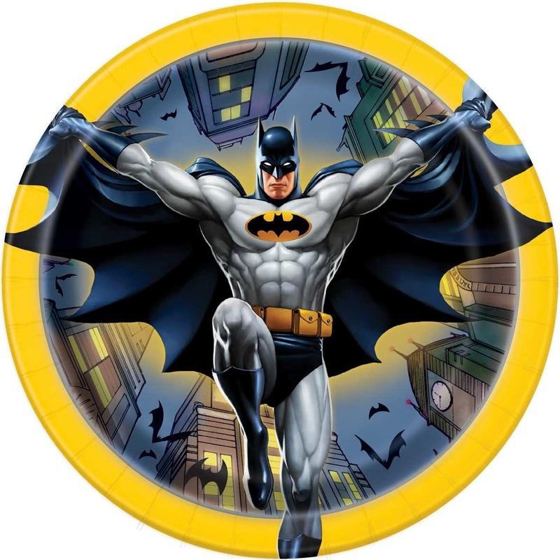 8x Batman themafeest gebaksbordjes 17 cm