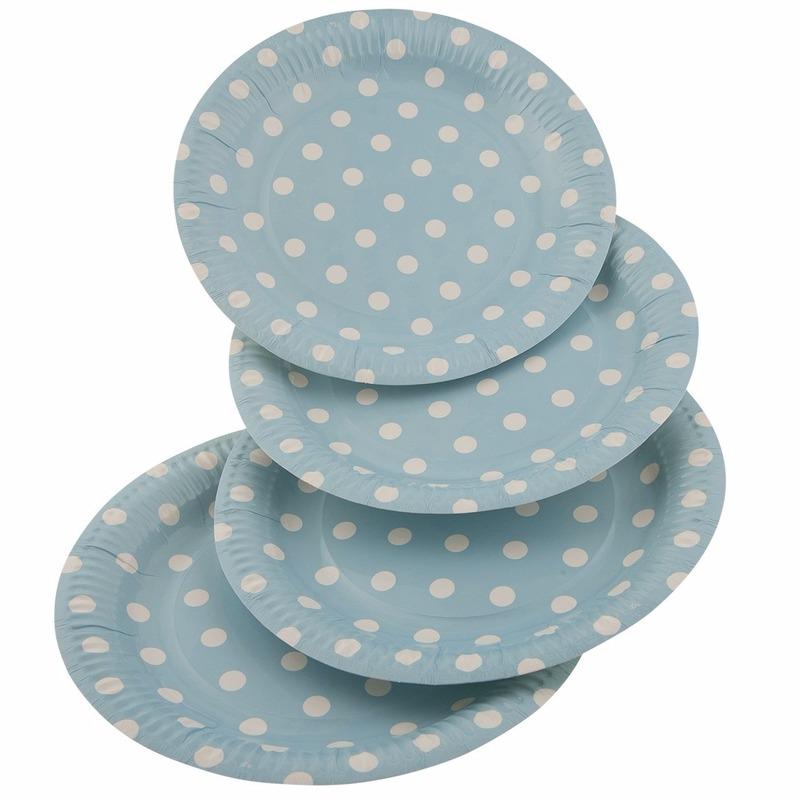 8x Blauwe wegwerp bordjes met witte stippen 23 cm