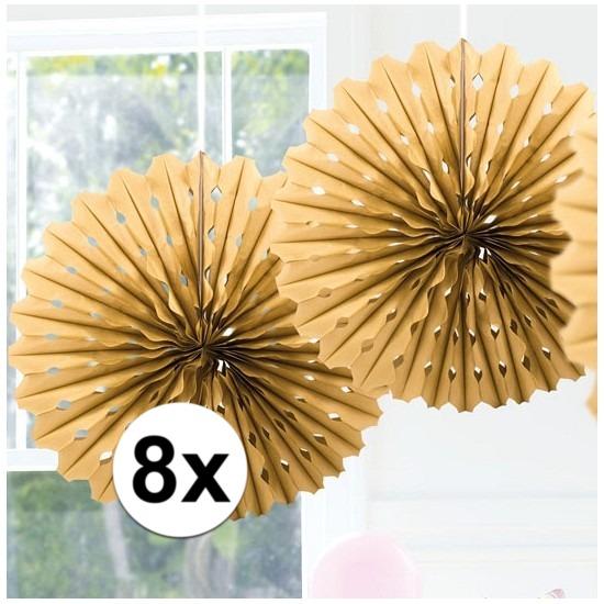 8x Decoratie waaier goud 45 cm