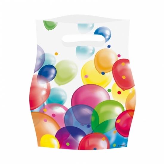 8x Feestzakjes met ballonnenopdruk plastic 16x23cm