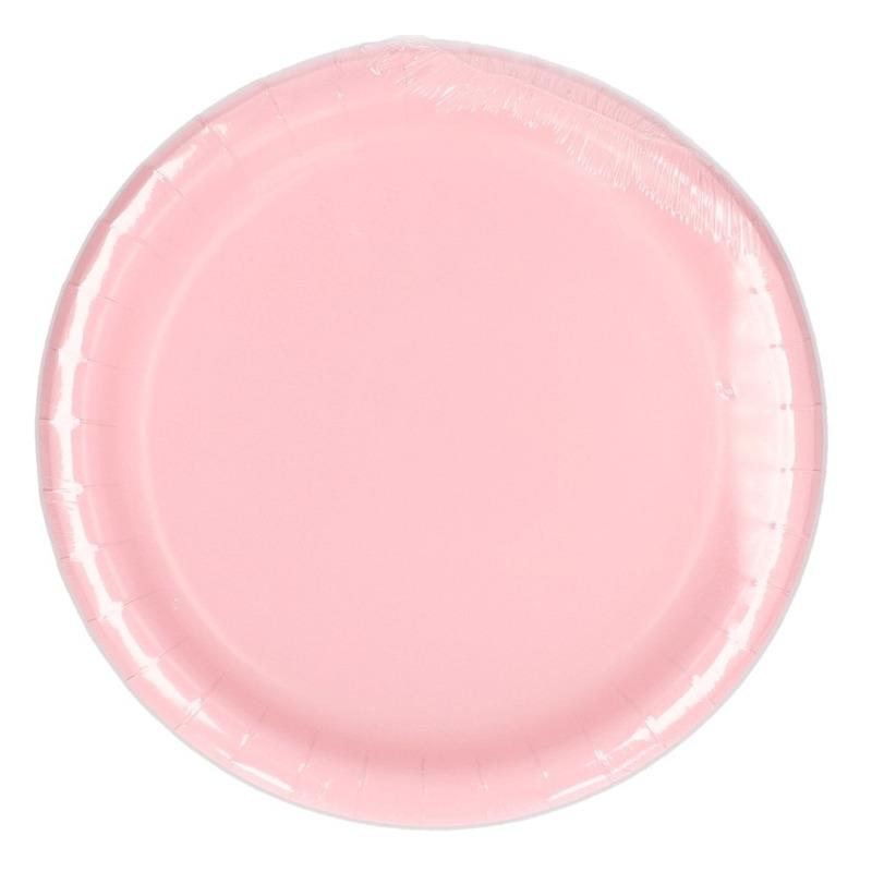 8x Lichtroze borden 23 cm
