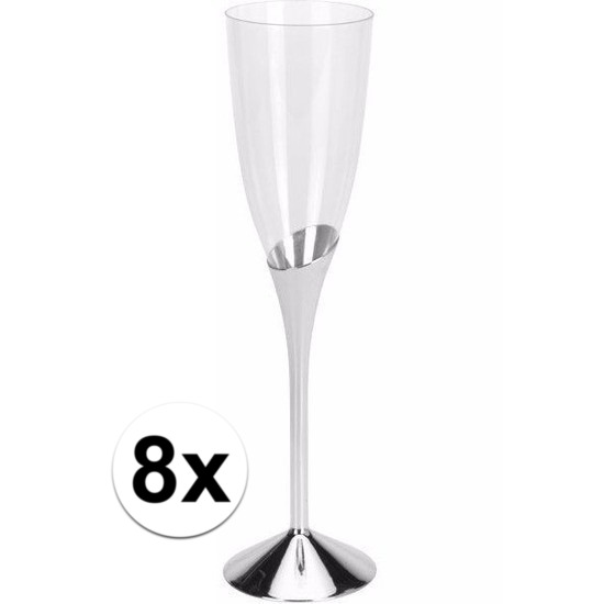 8x Plastic champagneglazen zilver